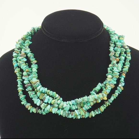 Vintage South Western / Native American Jewelry - VTG 4 Strand S. West/ NA_ Turquoise Necklace 925